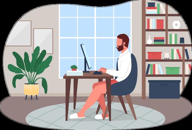 Online work meeting Illustration