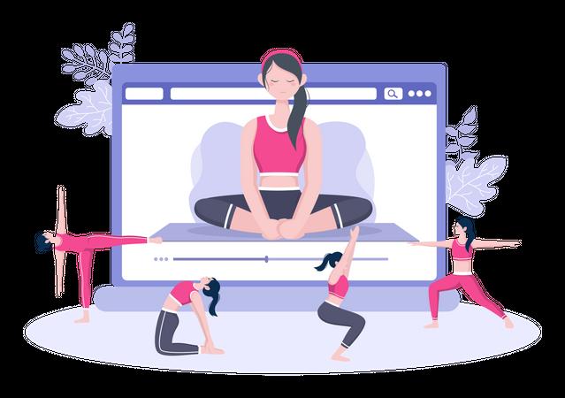 Online Yoga and Meditation Lessons Illustration