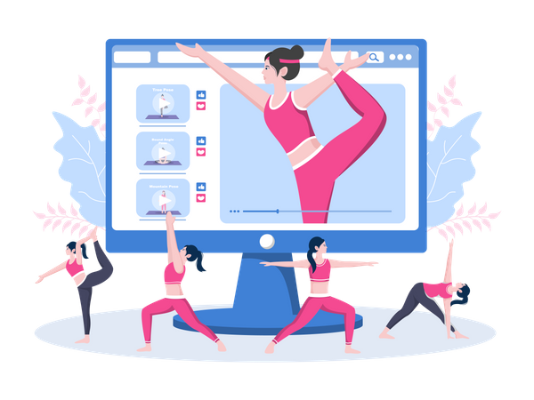 Online Yoga and Meditation Lessons in live Video Streaming Illustration
