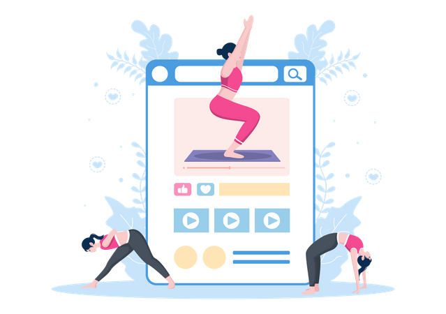 Online Yoga and Meditation Platform Illustration