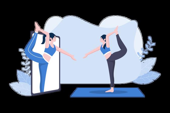 Online yoga Lessons Illustration