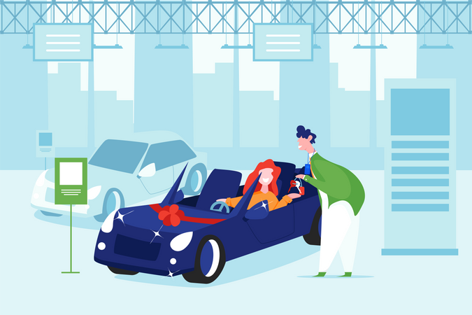 Open car gifting girl in birthday surprise Illustration