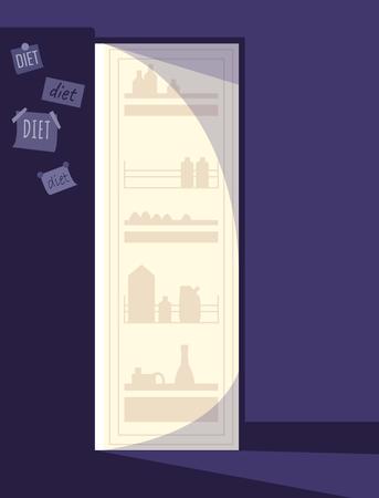 Open refrigerator Illustration