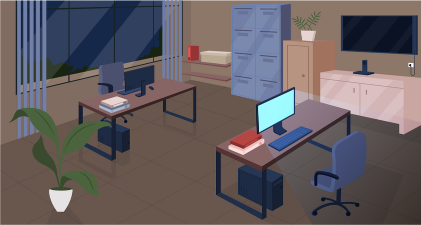 Open space office at night Illustration
