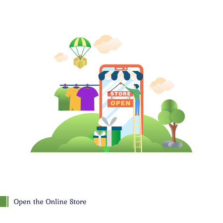 Open the online store Illustration