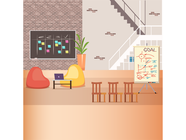 Open working space in office Illustration