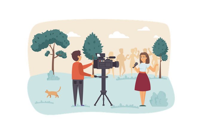 Operator records video with presenter Illustration
