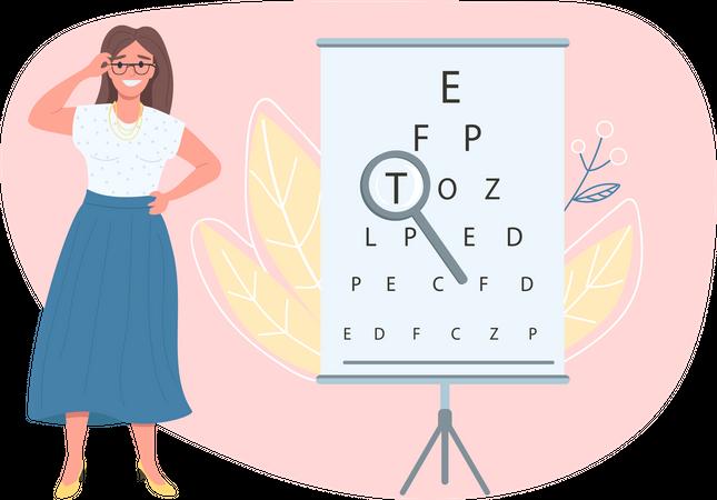 Optician female patient Illustration