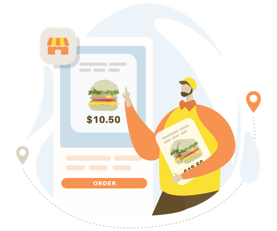 Order a burger online Illustration