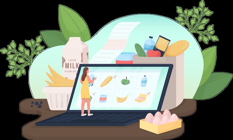 Order groceries online Illustration