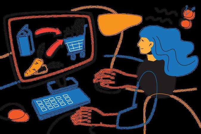 Order online groceries Illustration
