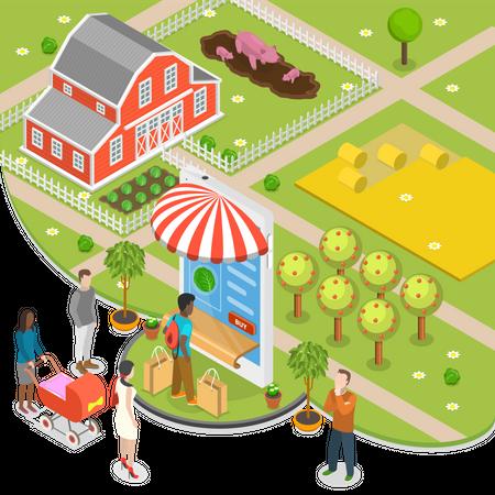 Organic food online store Illustration