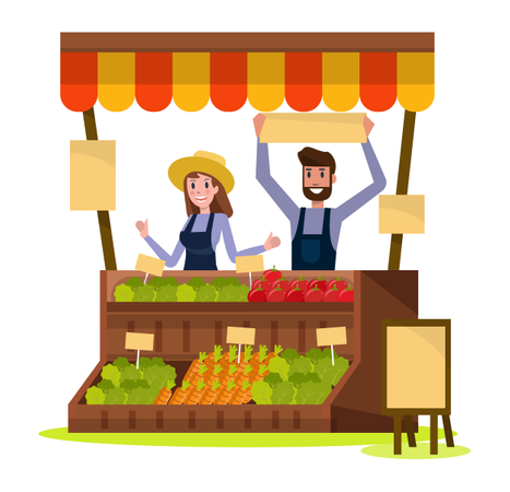 Organic Local food and vegetables market Illustration