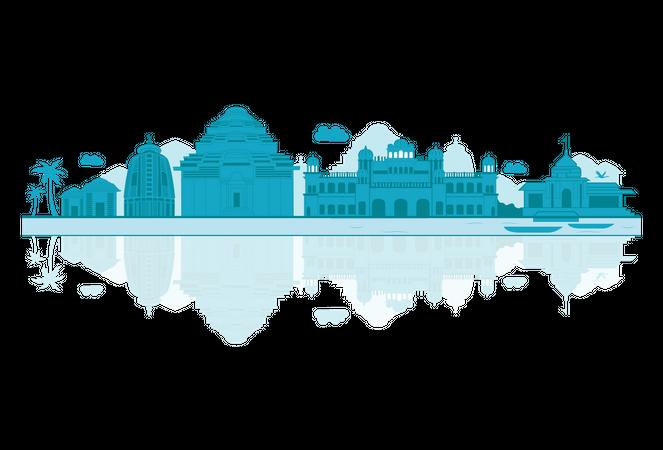 Orissa Skyline silhouette with reflections Illustration