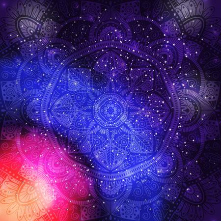 Ornamental floral ethnic mandala on purple galaxy background Illustration