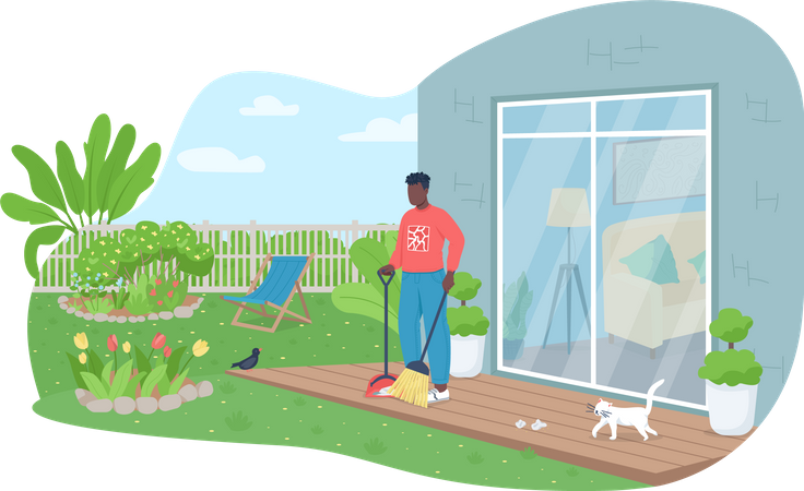 Outdoor cleaning work Illustration