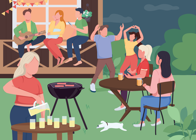 Outdoor party with friends Illustration
