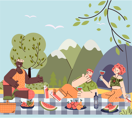 Outdoor picnic weekend with friends and barbecue Illustration