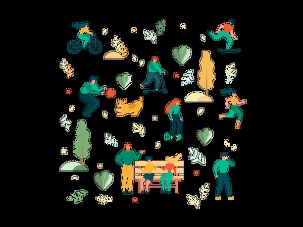 Outdoors Recreation Activity in Park Seamless Pattern Illustration