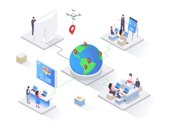 Outsourcing software development service web page Illustration