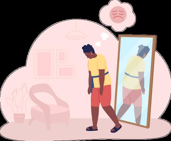 Overweight sad girl Illustration