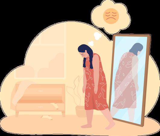 Overweight sad teenage girl Illustration
