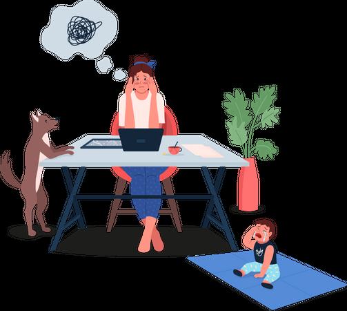 Overwhelmed working mother Illustration