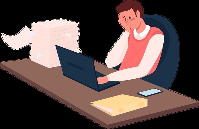 Overworked employee Illustration