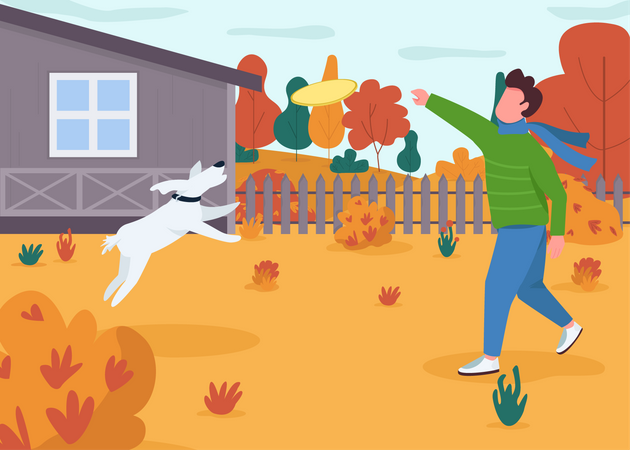 Owner play with dog Illustration