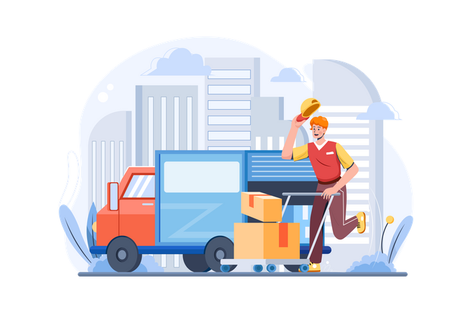 Package delivery on trolley Illustration
