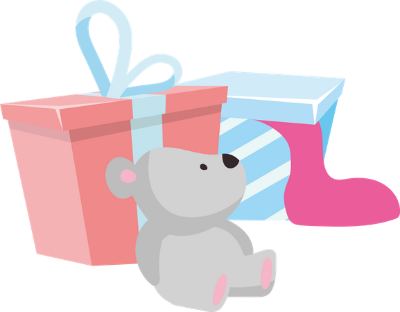 Packing gifts for birthday Illustration