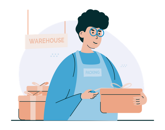 Packing shopping orders Illustration
