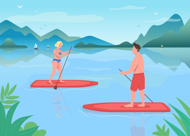 Paddleboarding training Illustration