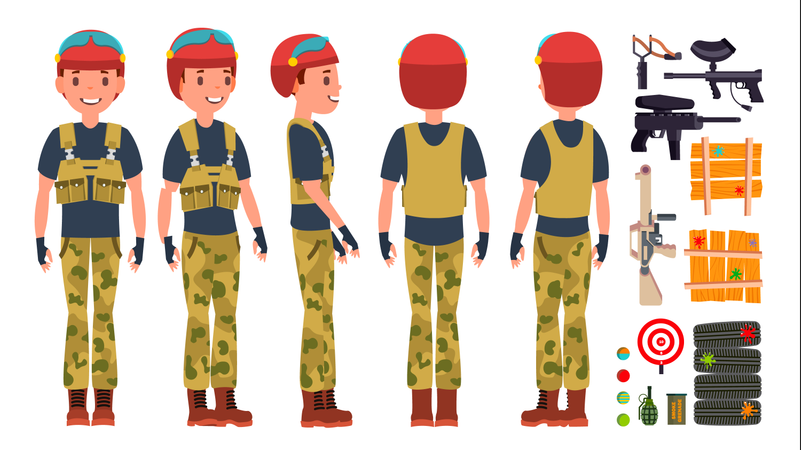 Paintball Player With Equipment Illustration