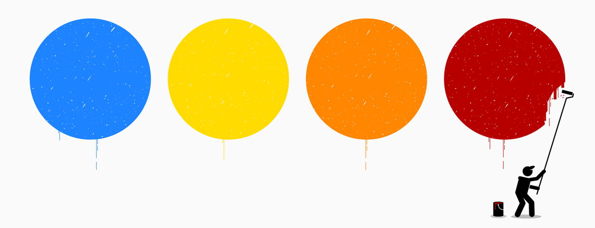 Painter painting four empty circles on wall with different color of blue, yellow, orange, and red Illustration