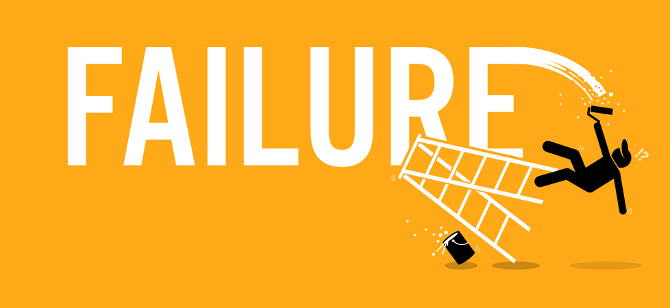 Painter painting the word failure on a wall by climbing up on a ladder but fell down miserably. Illustration