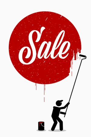 Painter painting the word sale on a wall with a red circle around it Illustration