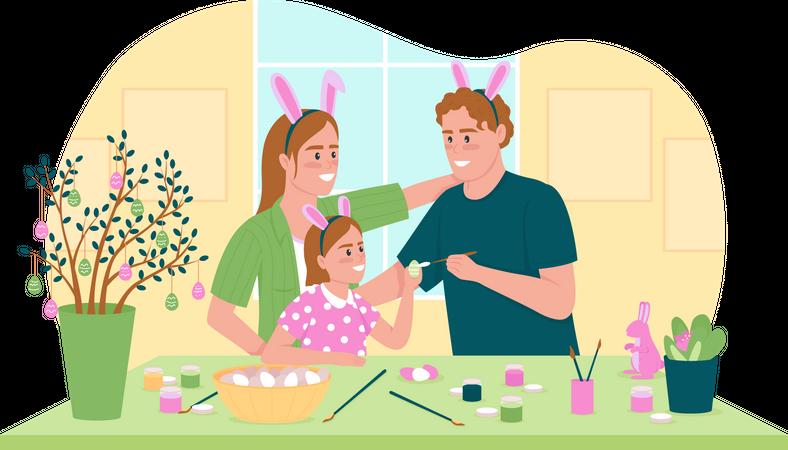 Painting Easter eggs Illustration