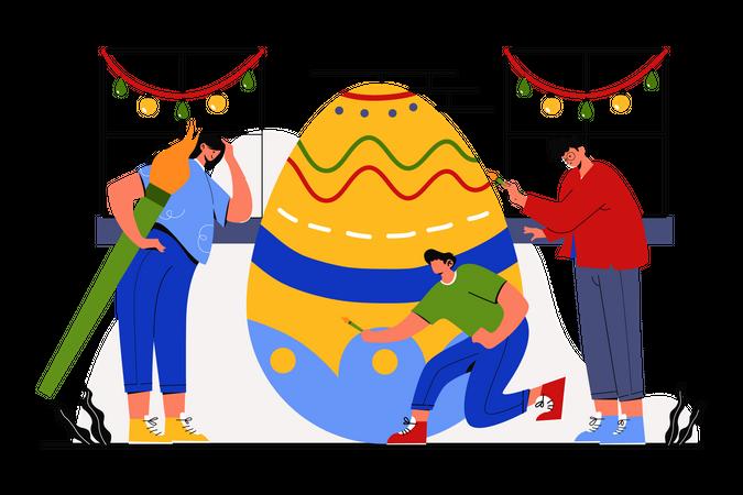 Painting egg on Easter Sunday Illustration