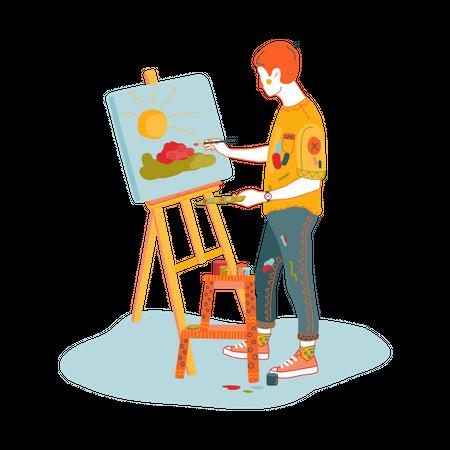 Painting teacher making scenery Illustration