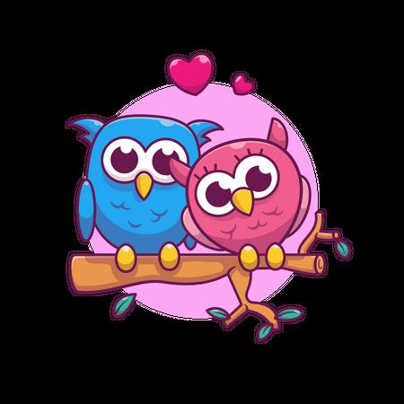 Pair of owl Illustration