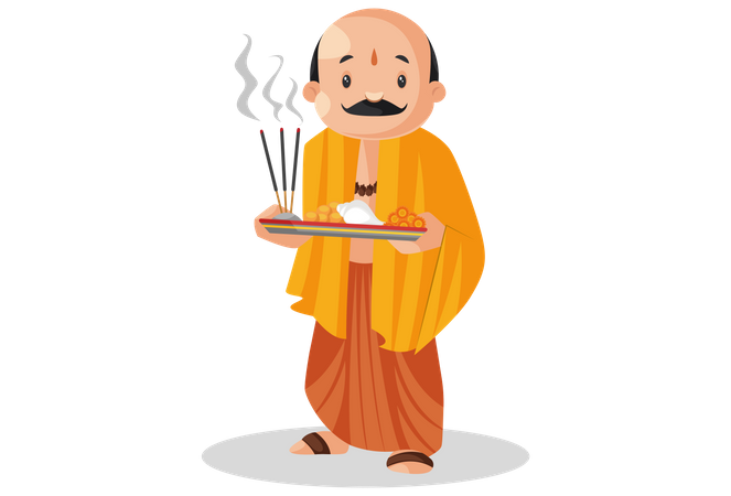 Pandit ji holding worship plate in hands Illustration