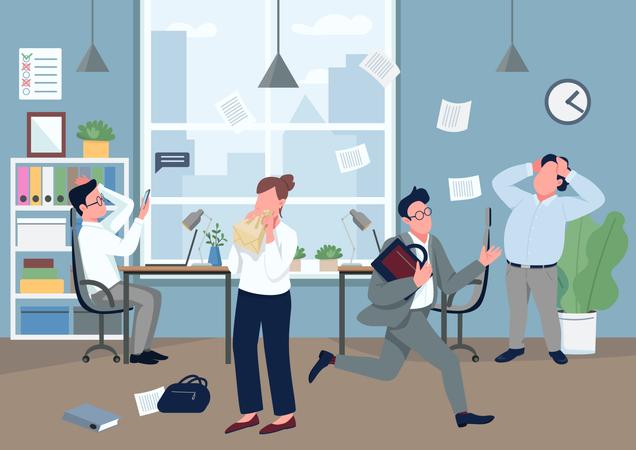 Panic in office Illustration