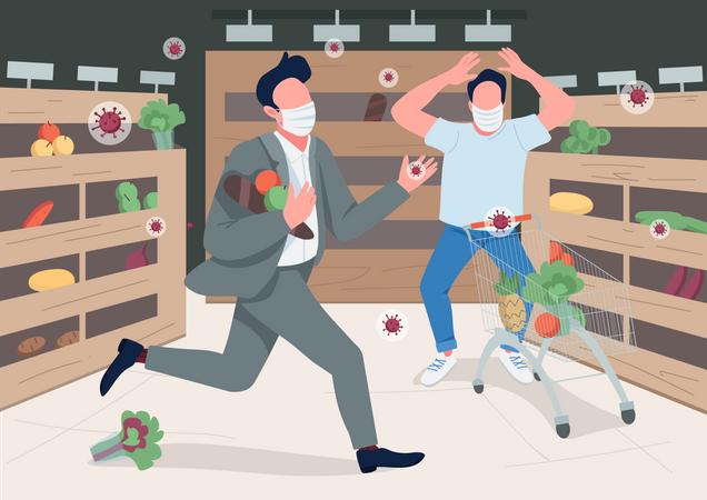 Panicking store customers Illustration