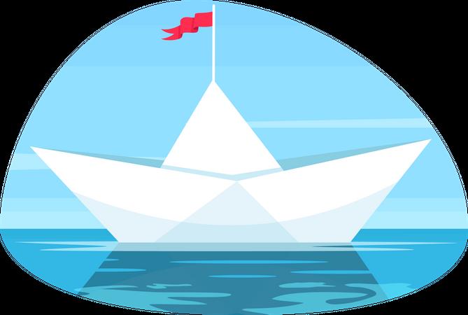Paper boat with flag Illustration