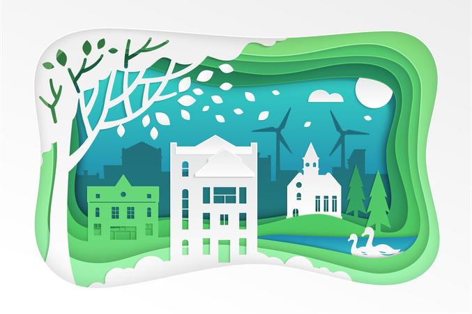 Paper cut landscape Illustration