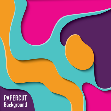 Paper cut out background with 3d effect, carving art, vector illustration Illustration
