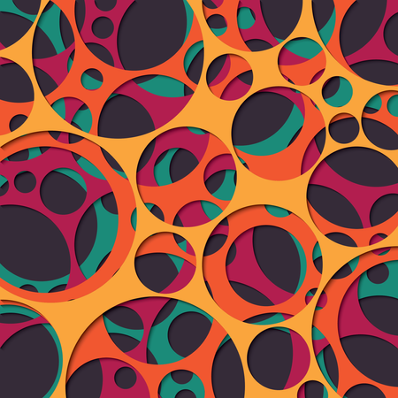 Paper cut out background with 3d effect, circles in vibrant colors, vector illustration Illustration