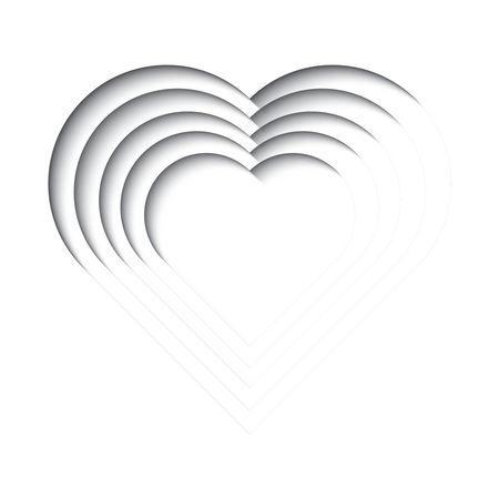 Paper cut out background with 3d effect, heart shape in black and white, vector illustration Illustration