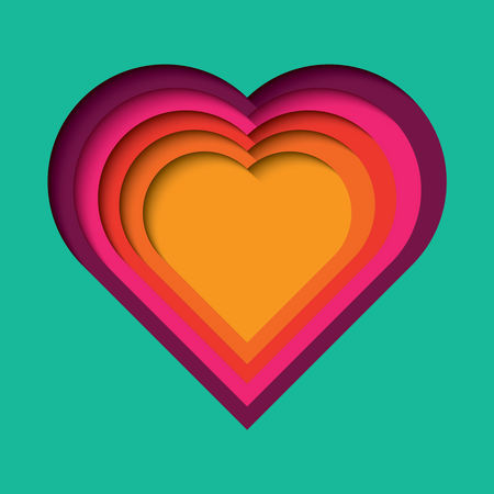 Paper cut out background with 3d effect, heart shape in vibrant colors, vector illustration Illustration